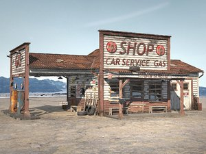 3D abandoned gas station
