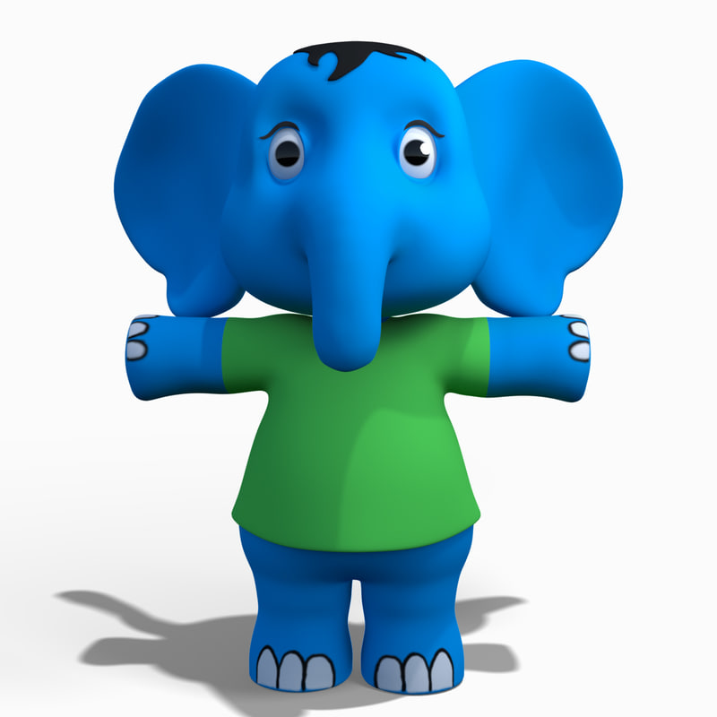 3D baby cartoon elephant