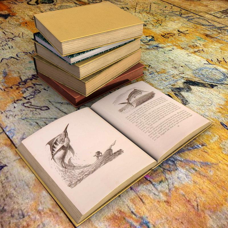 3D model set old books