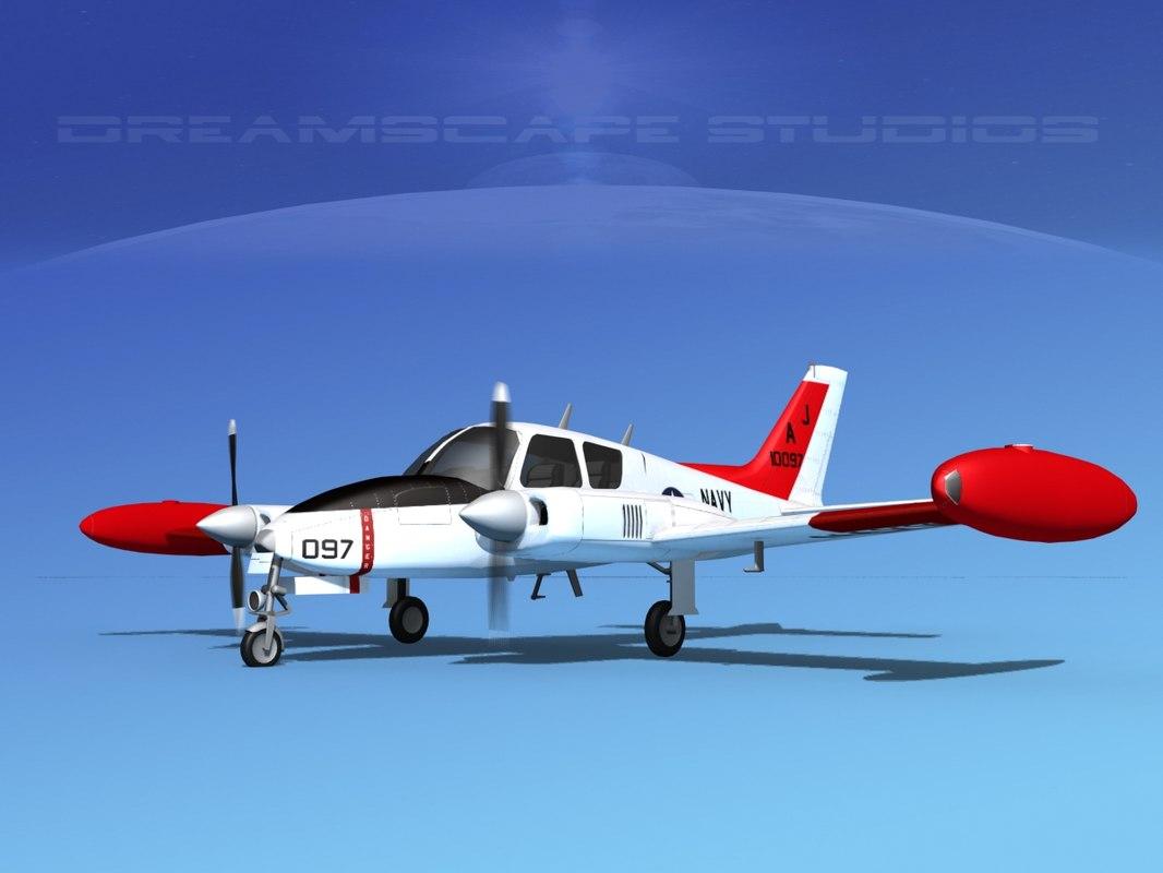cockpit cessna navy 3D model