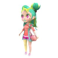 3D modeled punk girl model