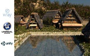 3D model shirakawago village set