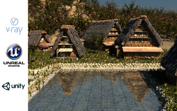 3D model shirakawago village set