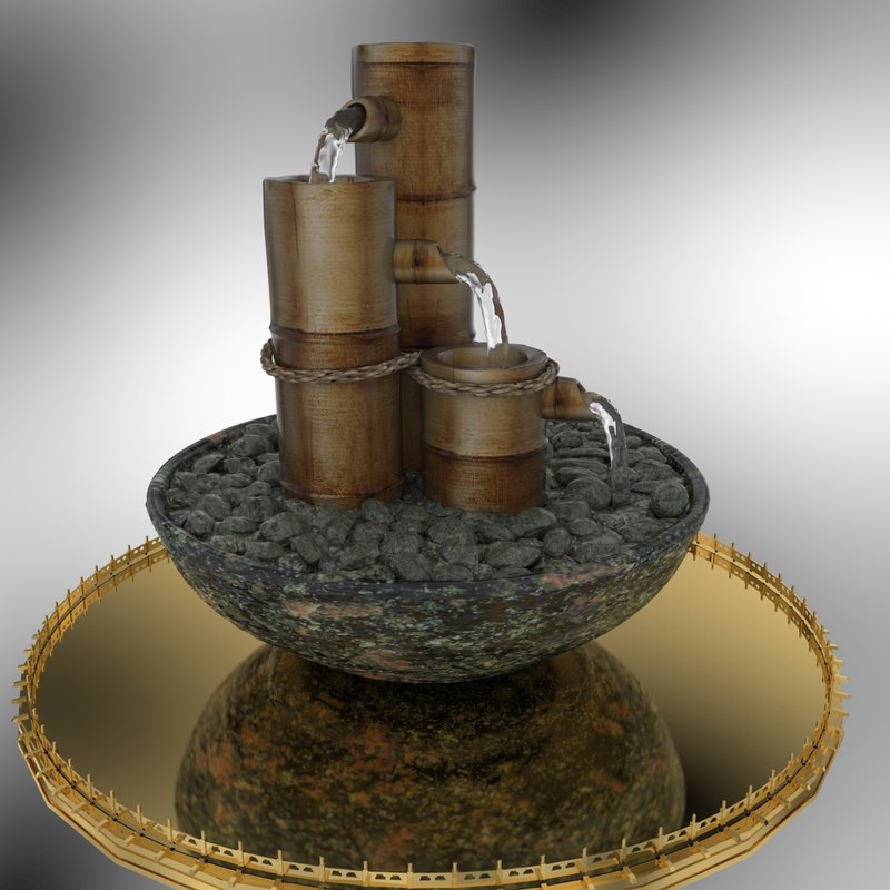 3D chinese bamboo water fountain model