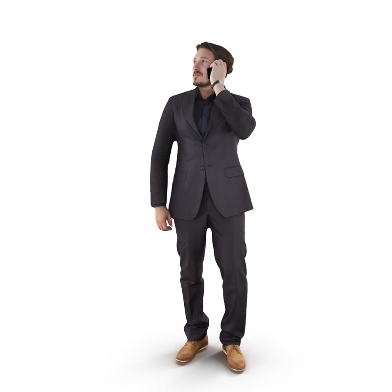 3D businessman phone talking