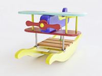rocking airplane kids toy 3D model