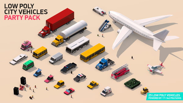 3D model vehicle pack city