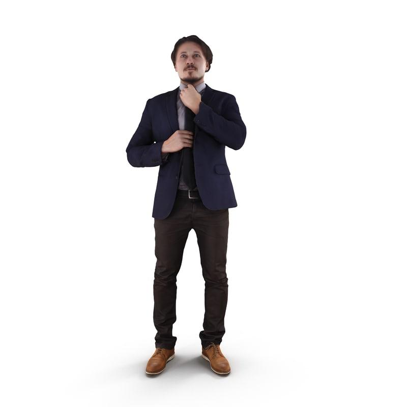 businessman fix tie human body 3D model