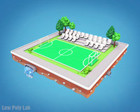 3D football field cartoon