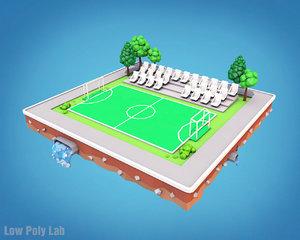 3D football field cartoon