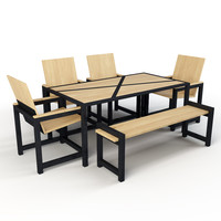 set industrial table chairs model