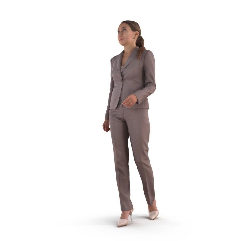 3D active business woman human body