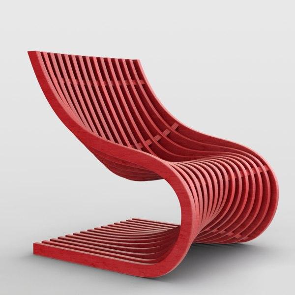 3D piegatto double section s chair model
