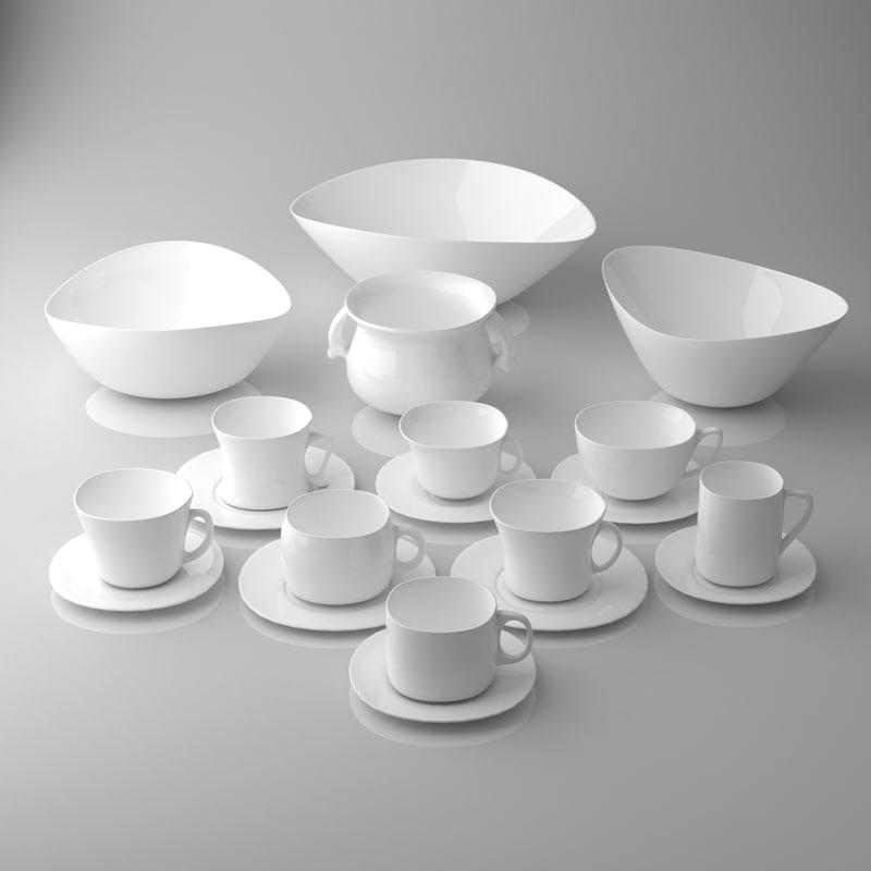 3D model assorted tableware