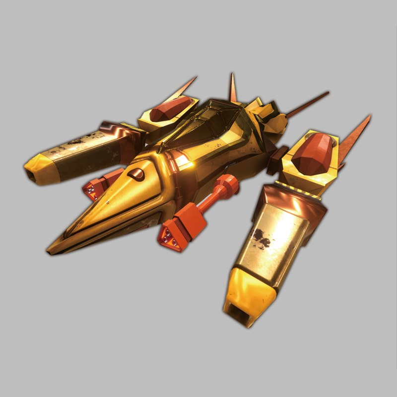 3D low-poly space spaceship model