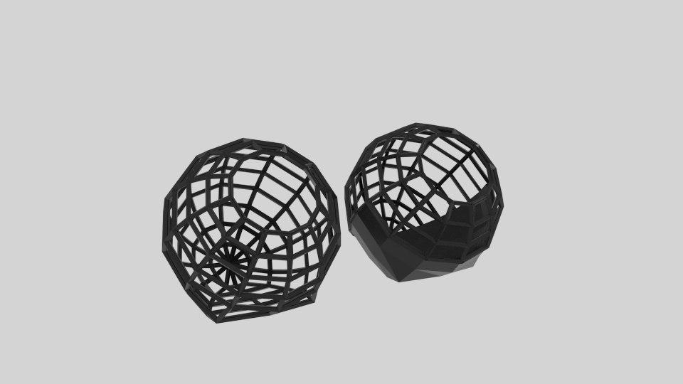 3D model sphere wire bin