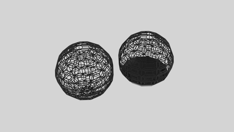 wireframe sphere bin pattern 3D model