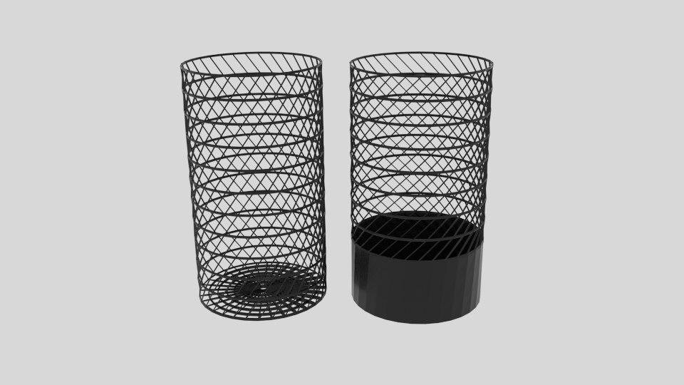 3D twist wire cylinder bin model
