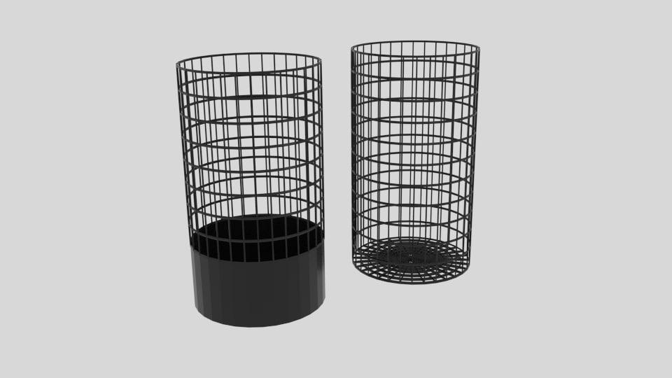 wire bin cylinder 3D model