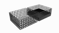 3D square wireframe bin