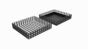square wireframe bin 3D model