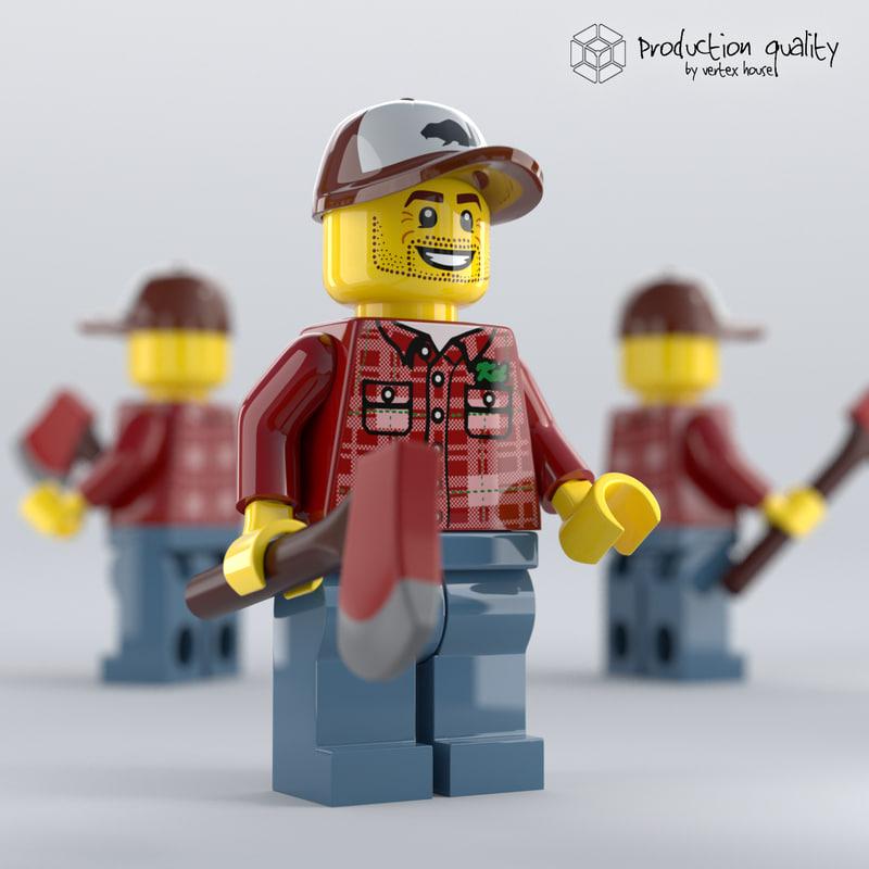 3D lego lumberjack figure