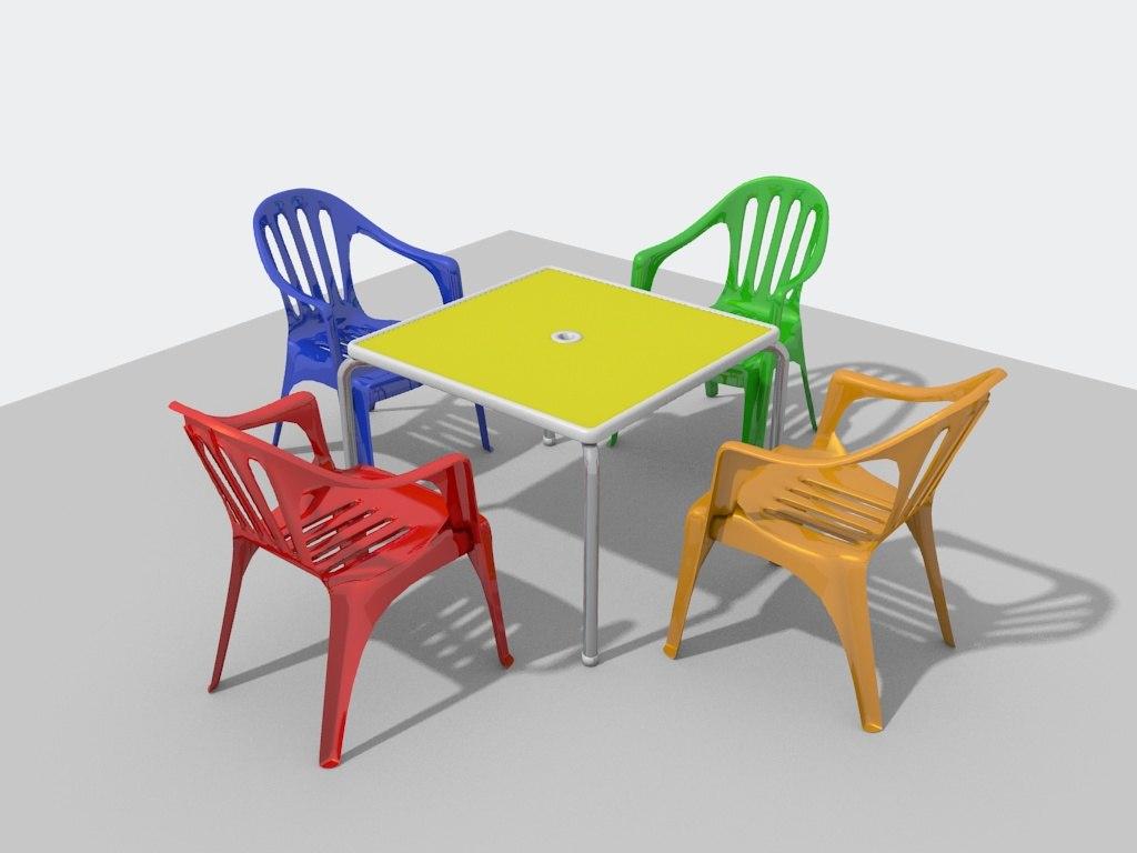 pvc garden chairs table 3d model - Garden Furniture 3d Model