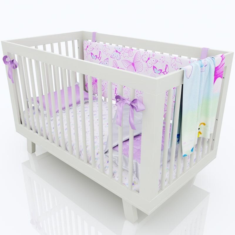 3D model baby cot girl