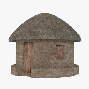 3D mud hut 1 model