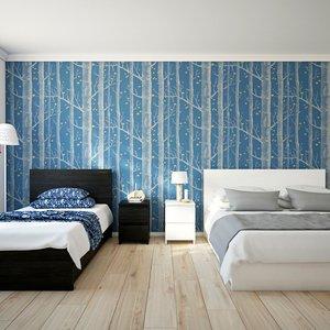 3D scene bedroom beds