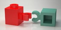 3D lego brick 1x1 vertical