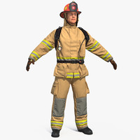 3D firefighter fighter model