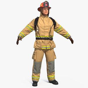3D firefighter fighter model
