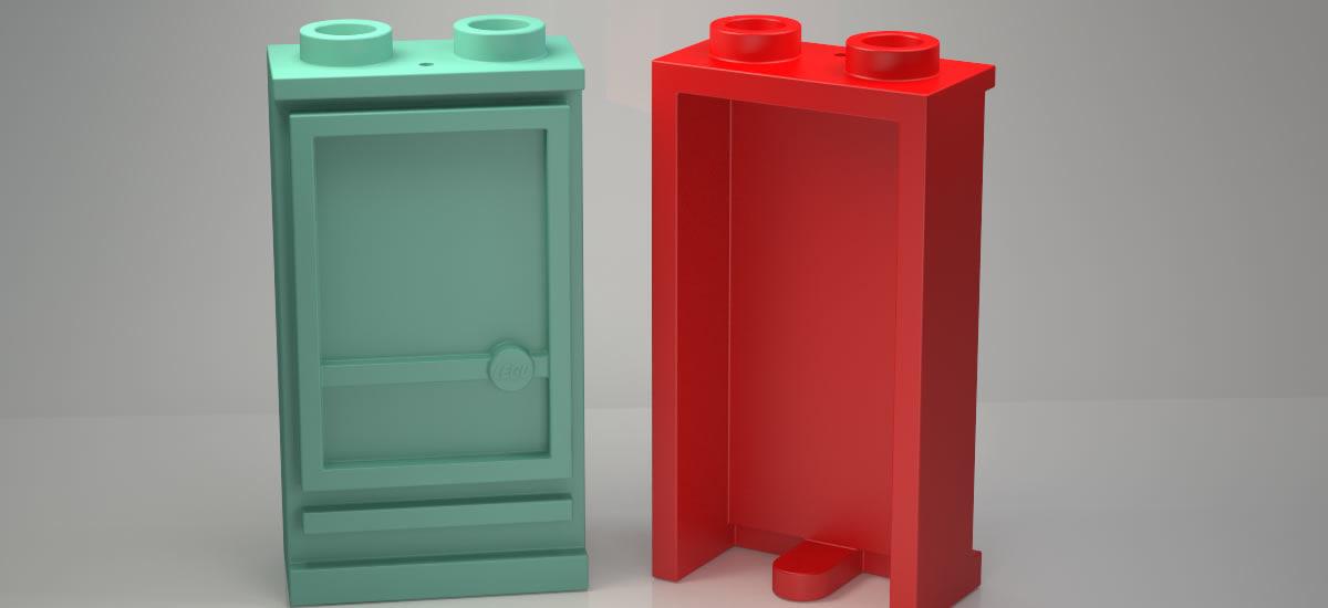 3D lego door 1x2x3 left