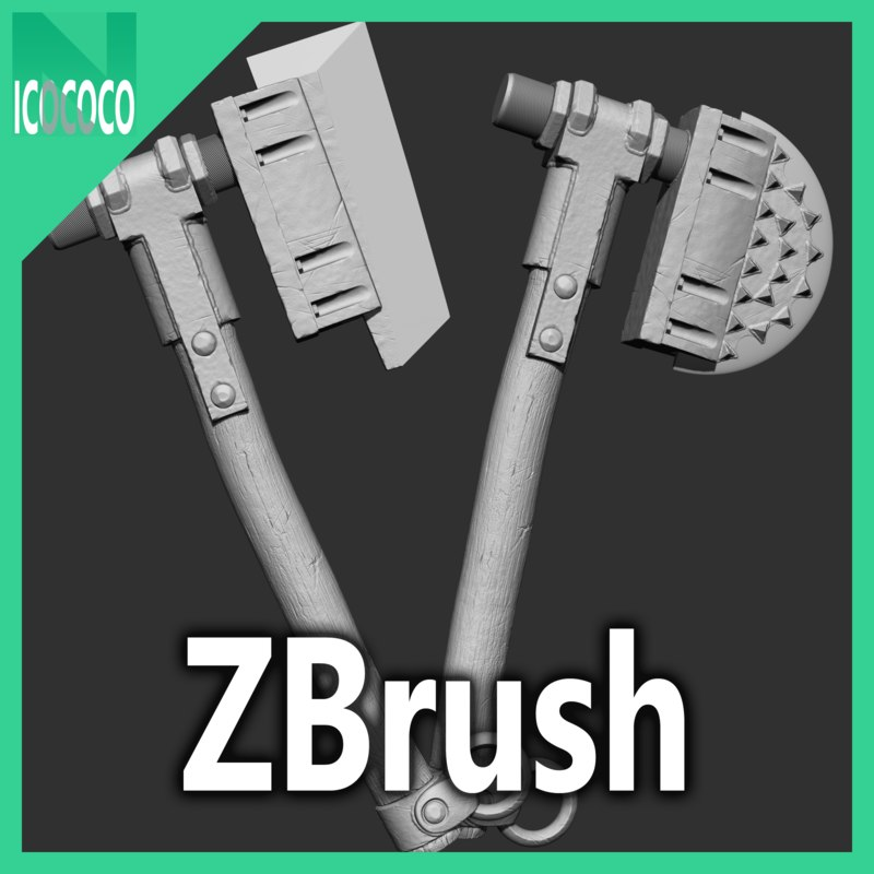 3D zbrush heavy axe set