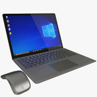 3D realistic microsoft surface laptop model