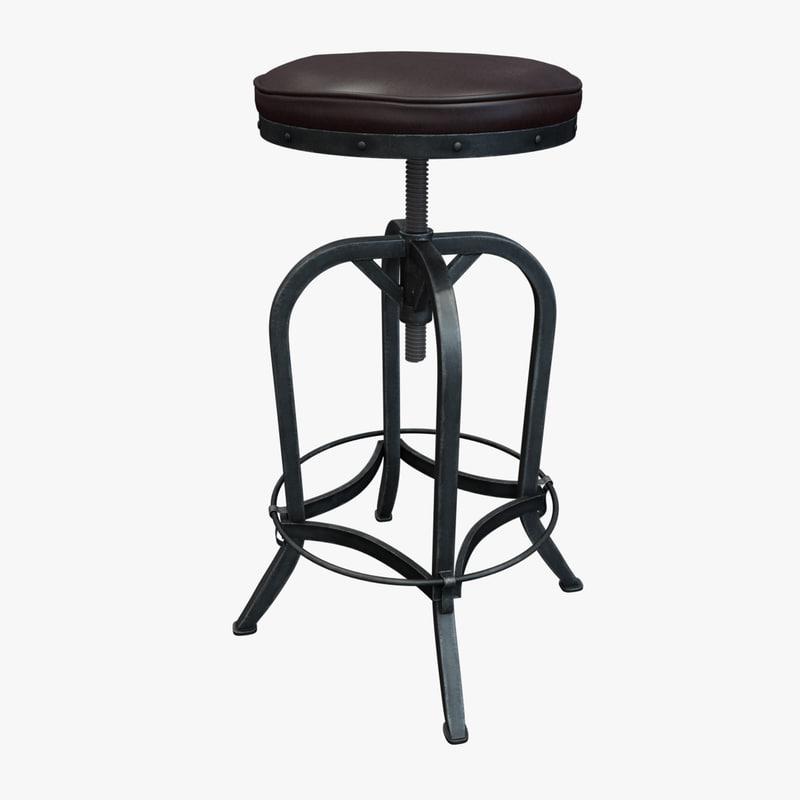dempsey swivel iron bar stool 3D model