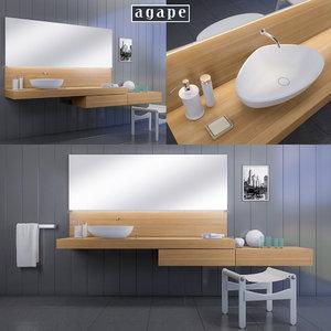 washbasin agape drop 3D model
