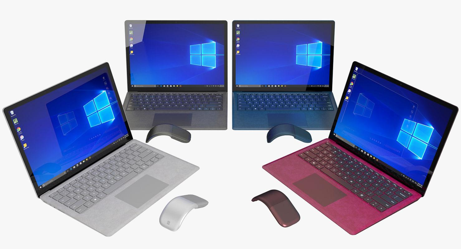 realistic microsoft surface laptop model