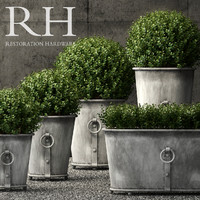 Restoration Hardware estate zinc ring round planters