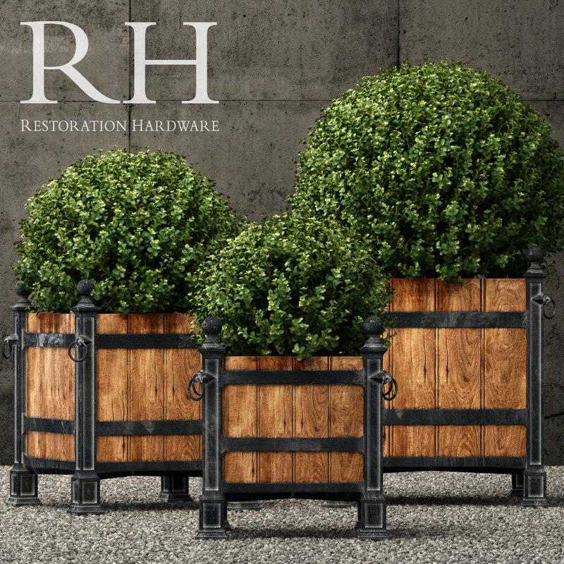 3D model restoration hardware planters