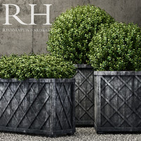 Restoration Hardware weathered steel lattice planters