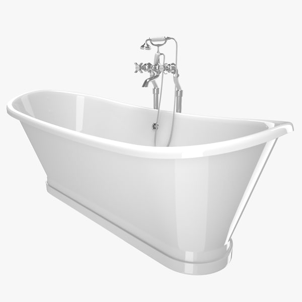 3D vintage bathtub madeira white model