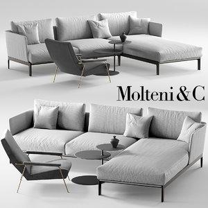 3D molteni chelsea sofa d153