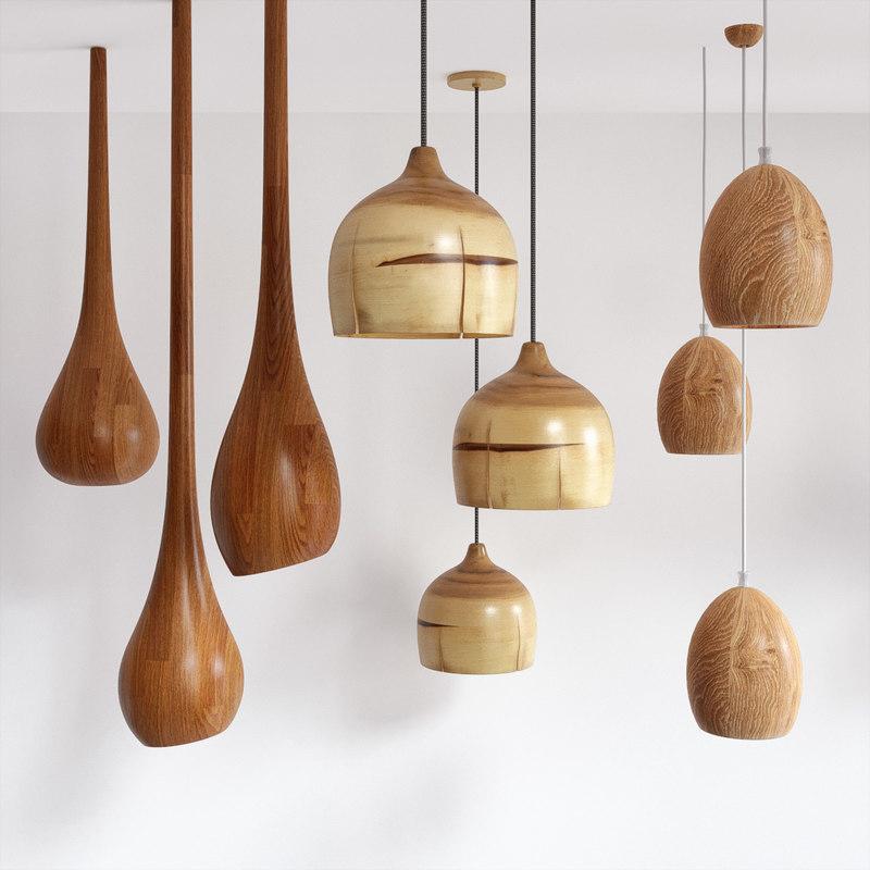 wooden lamps 3D model