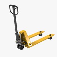 3D yellow hand pallet truck model
