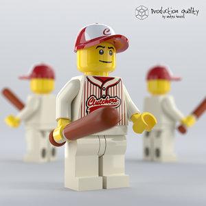 lego baseball player figure 3D