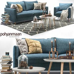 3D model pohjanmaan chic sofa armchair