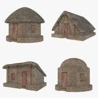 Mud Hut Collection 1 (Low Poly)