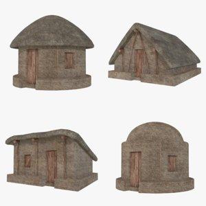 mud huts 1 3D